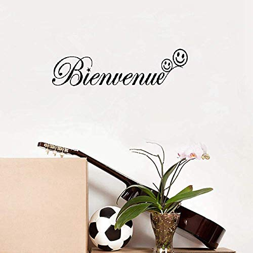 Quote Wall Decal Sticker Nursery Vinyl Saying Lettering Wall Art Inspirational Wall Decor French Bienvenue Pour L'Entrée Du Salon Welcome for Living Room Entryway -