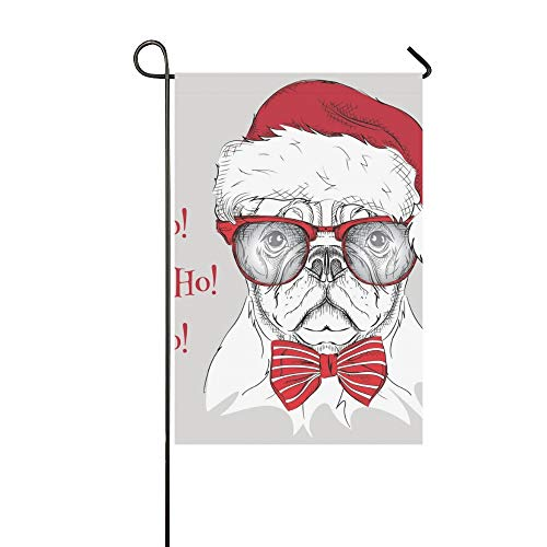 Home Decorative Outdoor Double Sided Christmas Poster Image Dog Portrait Santas Garden Flag,house Yard Flag,garden Yard Decorations,seasonal Welcome Outdoor Flag 12 X 18 Inch Spring Summer -