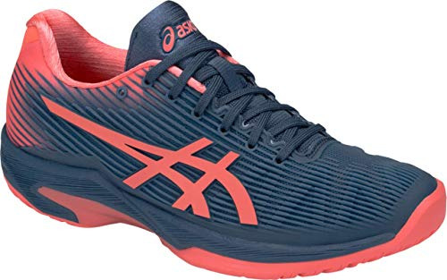 (ASICS Solution Speed FF Women's Tennis Shoe, Grand Shark/Papaya, 8 B US)
