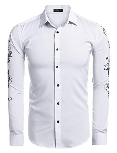 Denim Skull Dress (Coofandy Men Fashion Slim Fit Skull Print Button Down Shirts)