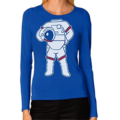 [Astronaut Easy Costume - Space Suit Print Funny Women Long Sleeve T-Shirt Small Blue] (Headless Woman Halloween Costume)