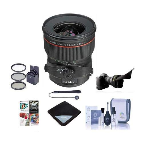 Canon TS-E 24mm f/3.5L II Tilt-Shift Lens U.S.A. Warranty - Bundle with 82mm Filter Kit (UV/CPL/ND2), Flex Lens Shade, Cleaning Kit, Lens Wrap (19x19), Professional Software Package, Capleash (Best Canon Tilt Shift Lens)