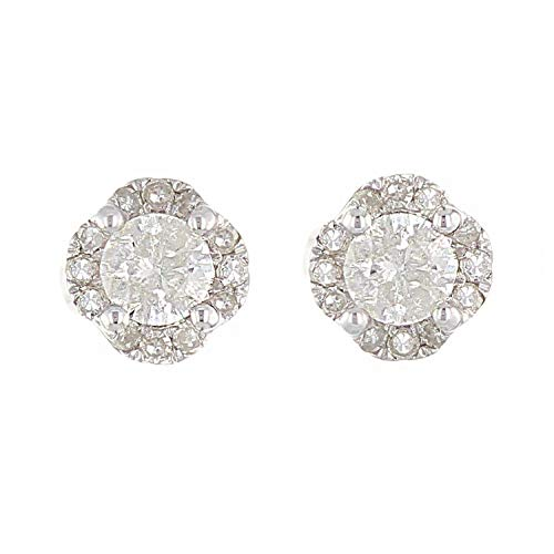 - 10K White Gold Diamond Stud Earrings in Floral Shape with Friction Back (0.70 cttw, I-J Color, I1-I2 Clarity)