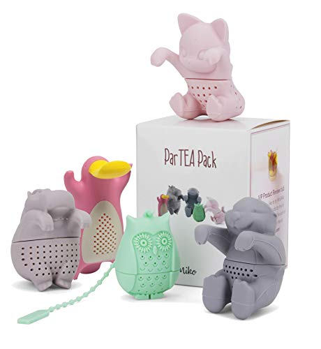 (Tea Infuser Set for Loose Tea - Get the Cute Animal Tea strainer ParTea Pack for More Enjoyable Tea Times with Friends and Family, 5-pack, Multi Color)