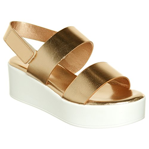 shoewhatever Women's Double Band Platform Wedge Sandal with Ankle Strap (8.5, RGdMPu) ()