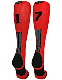 Red/Black Player Id Custom Over The Calf Number Socks (Pair)