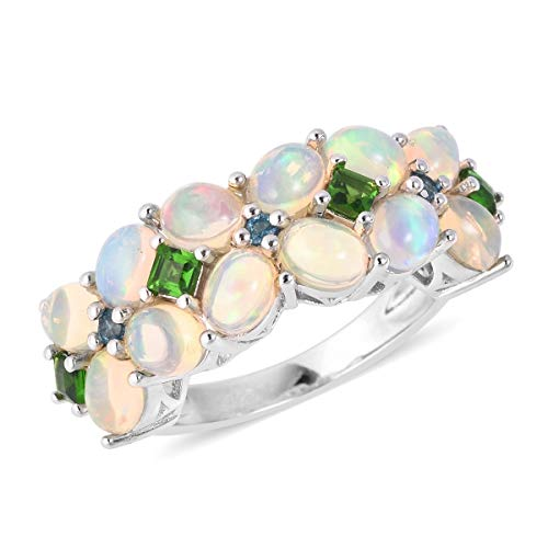 Opal Chrome Diopside Cluster Ring 925 Sterling Silver Jewelry for Women Size 7