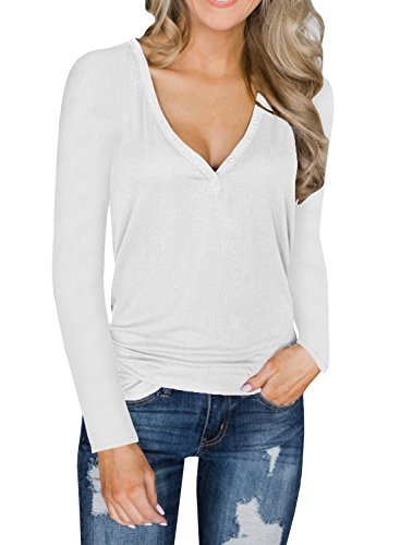 Dellytop Womens V Neck Henley Shirts Long Sleeve Button Up Plain Tunic Tops (Knit Henley Tee)