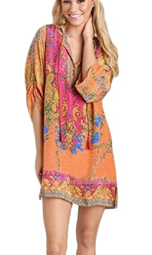 Dress Party Midi Style Women Orange Flower Oversize 1 Printed Ethnic Coolred Loose H0qz7Hx