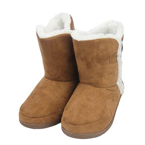 Voorvoet Indoor Vrouwen Slippers Winter Warm Zacht Fleece Bootie Slippers Huis Schoenen Harig Bruin