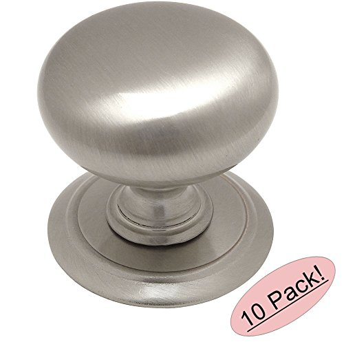 Cosmas¨ 6542SN Satin Nickel Round Cabinet Hardware Knob with Backplate - 1-1/4
