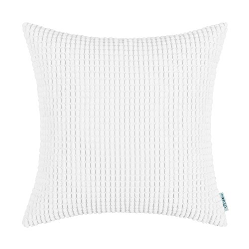 CaliTime Cozy Throw Pillow Cover Case for Couch Sofa Bed Comfortable Supersoft Corduroy Corn Striped Both Sides 26 X 26 Inches True (Lattice European Sham)