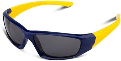 RIVBOS RBK003 Rubber Flexible Kids Polarized Sunglasses for Baby and Child,3-10 Age(Mirrored Lens Available)