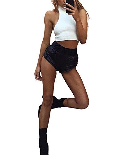Prendas de vestir de punto simple de mujer sin mangas con cuello alto de Crop top sin espalda Blanco