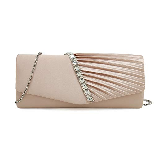 (Charming Tailor Evening Handbag Crystal Embellished and Pleated Satin Clutch (Champagne))