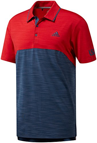 Edition Golf Shirt - adidas Golf Men's Ultimate Heather Blocked Usa Edition Polo, Large, TMAG Scarlet Heather/TMAG Mineral Blue Heather