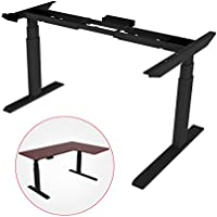 Loctek HAD3CB Electric Height Adjustable Desk Frame, Three-Stage Frame Supports a corner return, Stand Up Desk Base w/ Automatic Smart Keypad (Without Table top, Black)