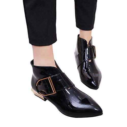kaifongfu Women Non-Slip Shoes Boots Low-Heeled Shoes with Buckle Belt (Black,36)