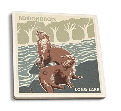 Adirondacks, Long Lake, York - River Otters - Woodblock (Set of 4 Ceramic Coasters - Cork-Backed, Absorbent)
