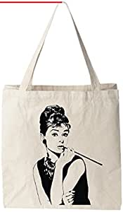 "Audrey Hepburn - Natural Cotton Canvas Tote Bag 12 Oz (11""X14""X5"") Reusable Ideal for Groceries, Shopping, School and Office Use"
