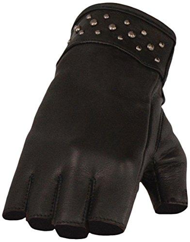 Milwaukee Leather Women's Lthr Fingerless Glove w/Rivet - Motorcycle Women Gloves Leather