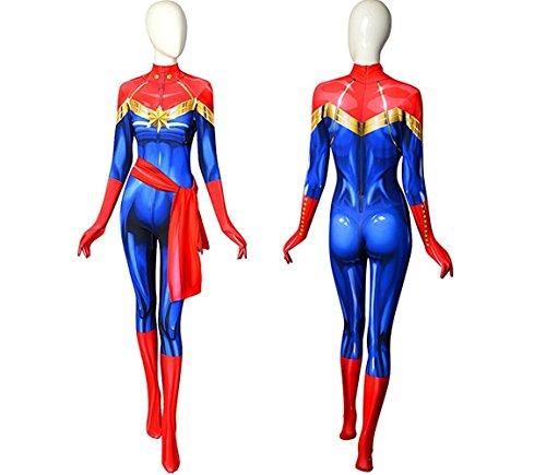 - 41XZdyD26hL - Ms. Marvel Cosplay Costume | Avengers Infinity Wars | Miss Marvel Carol Danvers Suit Bodysuit Lycra