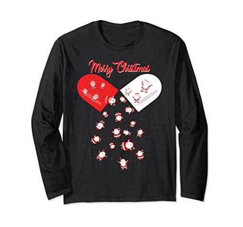 Merry Christmas Pill Santa Long Sleeve shirt Pharmacist Ch ()