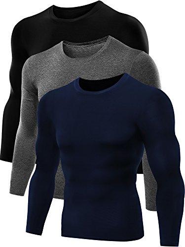 Neleus Men's Dry Fit Athletic Compression Shirts 3 Pack,5021,Black,Grey,Navy Blue,US S,EU M