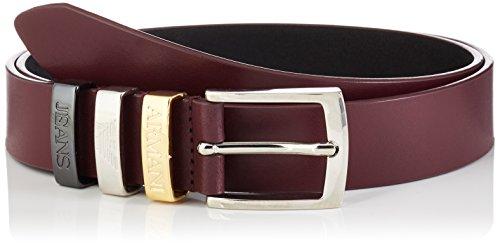 Armani Jeans Women's Triple Keeper Belt, burgundy, S by ARMANI JEANS