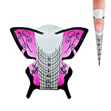 Honey Joy 300pcs/lot Professional Purple Butterfly Nail Form Tips Nail Art Guide Acrylic Tip Gel Extension Sticker Nail Polish Curl Form Pack of 1
