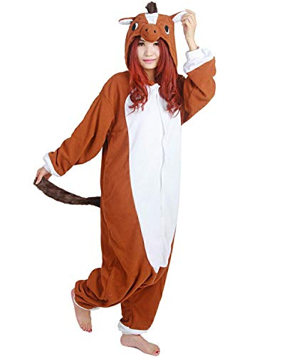 Tri-Better Brown Horse Onesie Animal Pajamas Hooded Kigurumi Unisex Cosplay Costumes