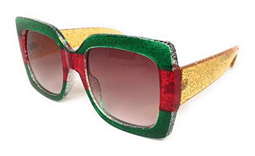 My Shades(TM) - Designer Inspired Oversize Glitter Sparkle Square Frame Sunglasses (Glitter Emerald, Red, Emerald / Pink - Lenses Are Gradient What