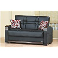 BEYAN Bronx Collection Living Room Convertible Loveseat with Storage Space, Includes 2 Pillows, Dark Brown