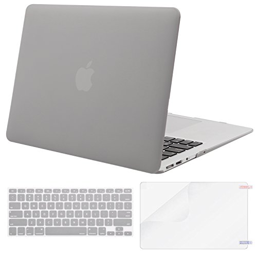 MOSISO Plastic Hard Case & Keyboard Cover & Screen Protector Only Compatible MacBook Air 13 Inch (Models: A1369 & A1466), Not Compatible 2018 Version A1932 with Retina Display, Neutral Gray