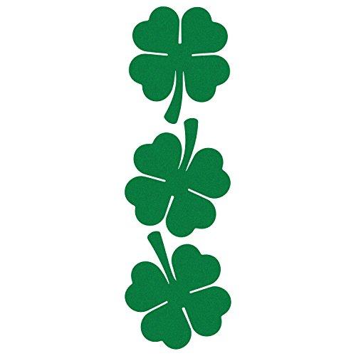 (LiteMark Reflective Green 2 Inch Four Leaf Clover Shamrock Sticker for Cell Phone, Hard Hat, Helmet, Tool Box, Laptop, Mailbox - Pack of 3)