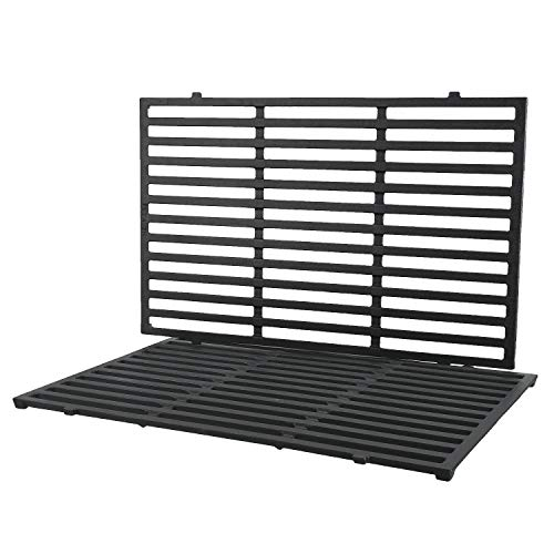 QuliMetal 7524 Matte Cast Iron Cooking Grates (19.5 x 12.9 x 0.6) for Weber Genesis E and S, 300 Series (E310, E320, S310, S320) Gas Grills