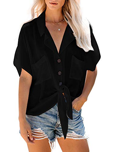 Beautife Womens Short Sleeve Shirts V Neck Collared Button Down Tie Knot Shirt Tops with Pockets