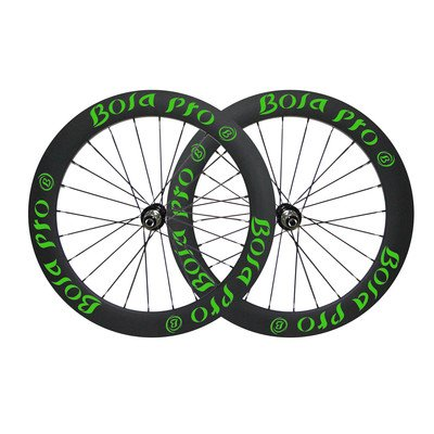 (Bola Pro carbon bike wheelset,+/-0.2mm offset,Two Year Warranty,700C 75mm high 25mm wide tubular carbon rim with road disc brake hub and Sapim Cx ray 24/24 spoke for racing)