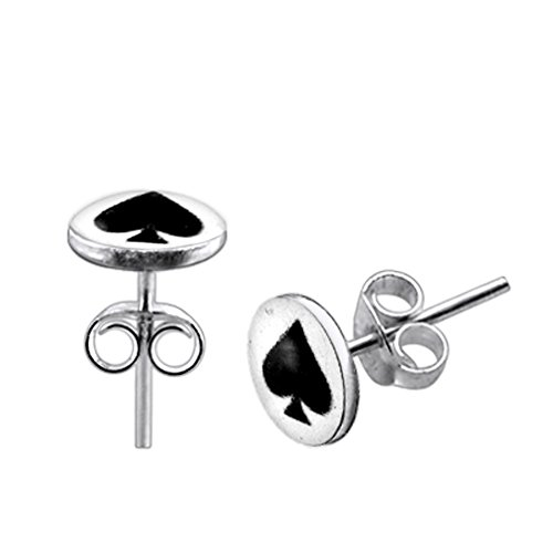 (Spade on White Background Logo Picture 925 Sterling Silver Stud Earring Jewelry)