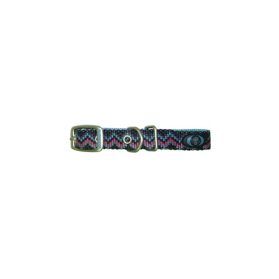 Hamilton 5/8 Inch by 12 Inch Single Thick Nylon Deluxe Dog Collar, Ocean Blue Weave