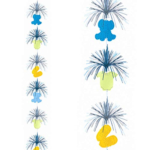 Cascade Hanging Column Decoration - 82.7in Blue Baby Shower Teeny Tiny Boy Hanging Cascade Column Decoration