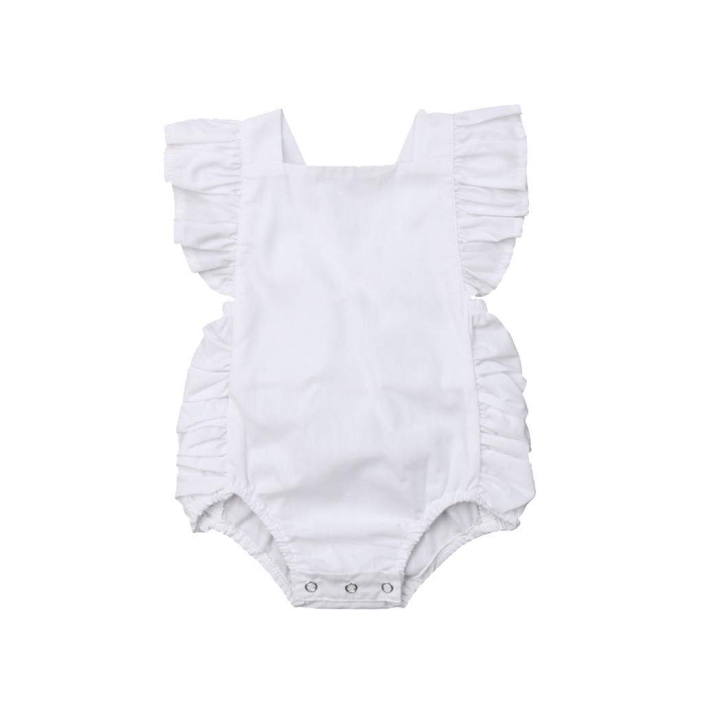 Tensay Newborn Infant Baby Girl Boy Solid Lace Bowknot Romper Bodysuit Clothes Outfits