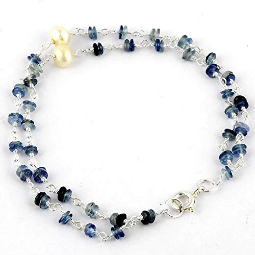 Orchid Jewelry Sapphire, Cultured Freshwater Pearl 925 Sterling Silver Ladies Bracelet