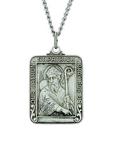 - TrueFaithJewelry Sterling Silver Our Patron Saint Patrick Square Medal, 1 Inch