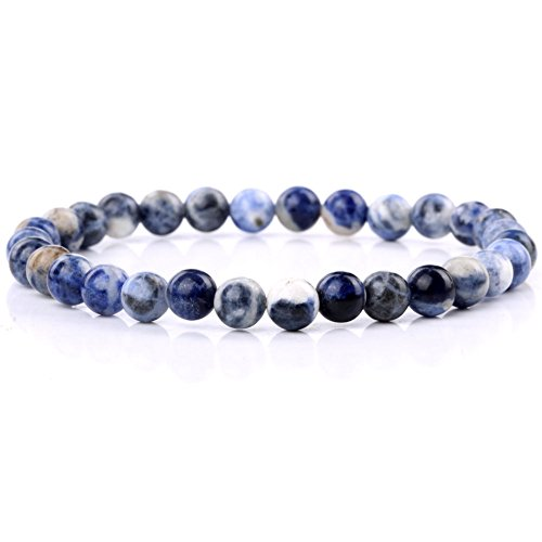 jennysun2010 Handmade Natural Sodalite Gemstone Smooth Round Loose Beads 6mm Stretchy Bracelet Healing  7