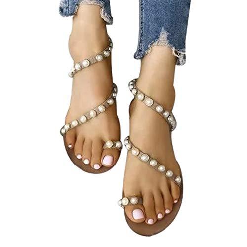Moda de Mujeres Dulces Abalorios Peep Toe Pisos Bohemio Sandalias Romanas Elegante Bombas Zapatos Casuales Sandalias de Punta Abierta Playa Fiesta Sandalias Oro