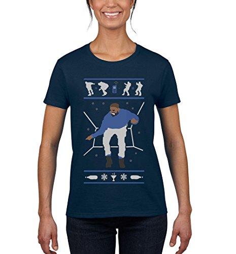 NineTeen, Christmas Drake Hotline Bling Womens T-Shirt (S, Navy) ()