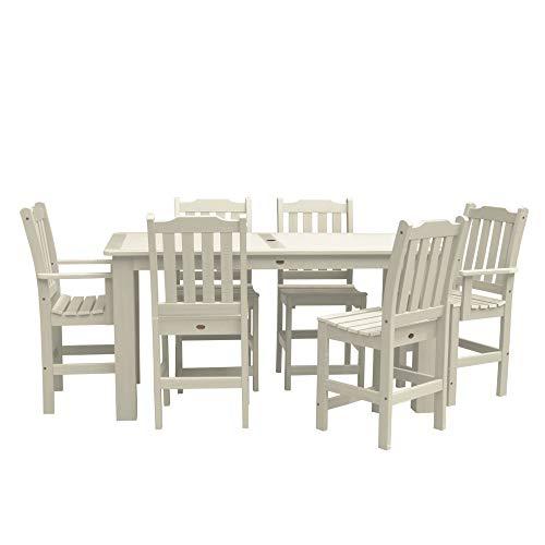 Set Whitewash - Highwood 7-Piece Lehigh Rectangular Counter Height Dining Set, Whitewash