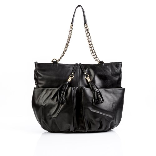 Baccini Ashley Hand Bag - Genuine Leather Black - Portfolio - Large - Shoulder Bag (31 X 41 X 12 Cm)