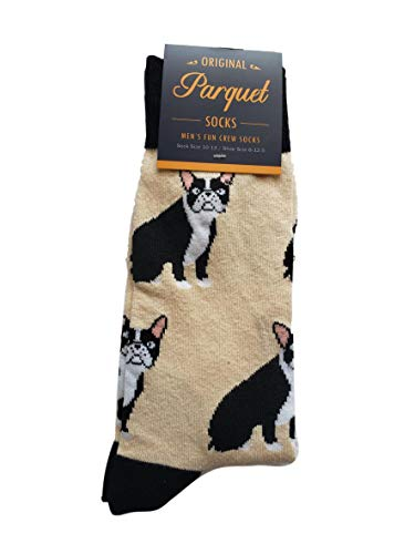 Bulldog Birthday (Men's Fun Crew Socks, Shoe Size 6-12.5, Great Holiday/Birthday Gift/Cotton drawstring bag included (Bulldog Body/Tan))
